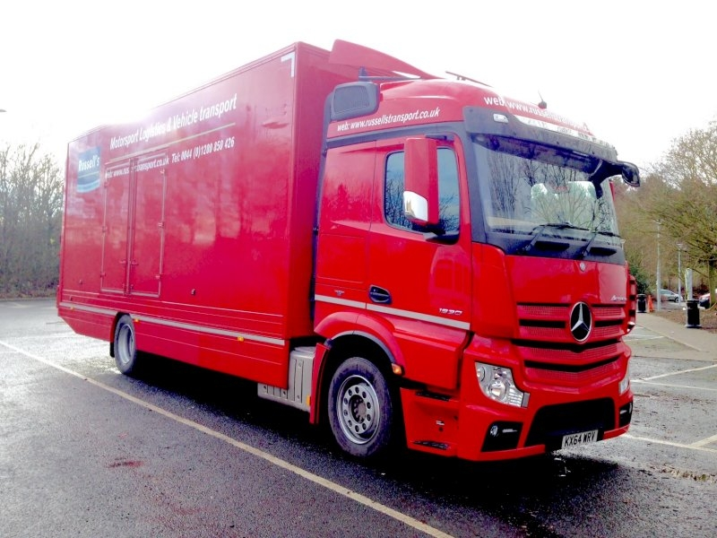 new mercedes trucks four car covered transporter join russells transport fleet. Black Bedroom Furniture Sets. Home Design Ideas