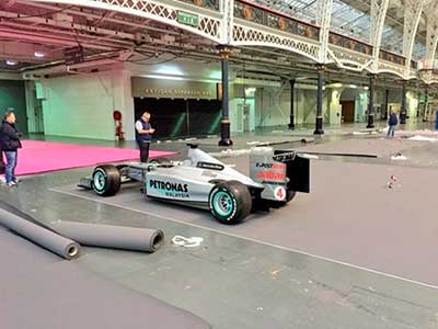 Race Car Transport - GP F1 Mercedes Petronas Race Car Delivered to International Confex Event Organizers for Mercedes Benz World - Russells Transport - Russells Vehicle Management and Towing