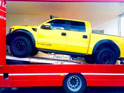 Covered Car Transport - Delivered to TOP GEAR Show on BBC2, the Hennessey Ford F-150 Velociraptor 600 Pickup1.3.15 - Russells Transport - Russells Vehicle Management and Towing