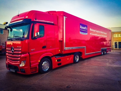 Mercedes Actros Gigaspace Tractor Unit with 6 Car Covered Car Transporter by Rolfo - RussellsTransport